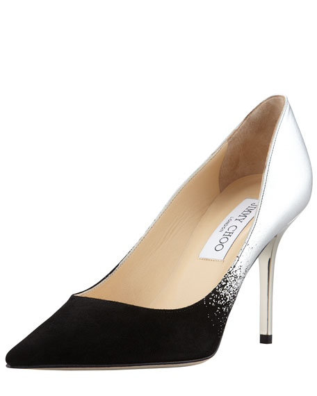 Agnes Ombre Pointed-Toe Pump, Black/Silver
