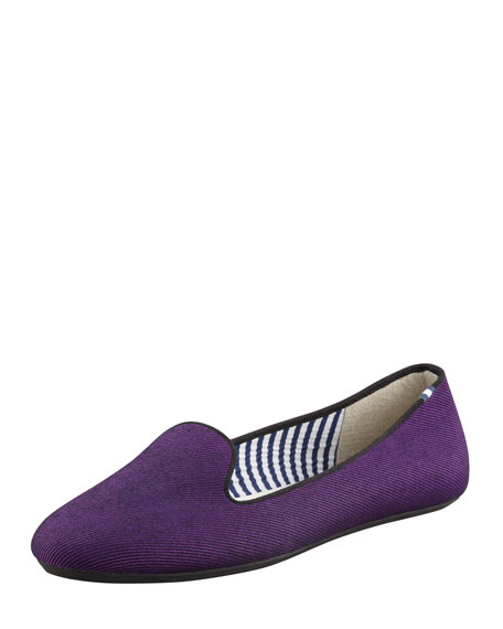 Sheila Twill Smoking Slipper, Violet