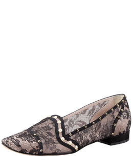 Rene Caovilla Crystal-Embellished Lace Loafer