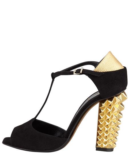 Polifonia Stud-Heel Suede T-Strap Pump, Black/Gold