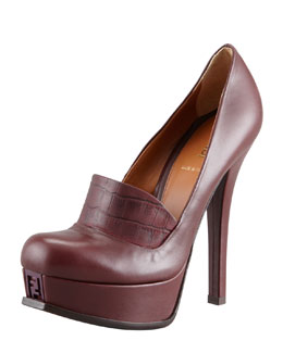 Fendi Fendista Leather Pump with Lizard-Embossed Vamp