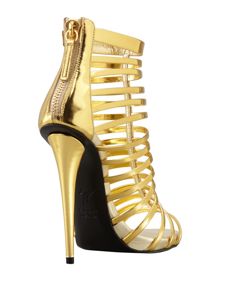 Mirrored Peep-Toe Cage Bootie