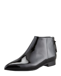 Miu Miu Patent Leather Flat Below-Ankle Boot, Black