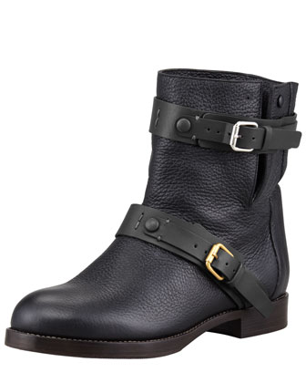 Double-Buckle Moto Boot, Black