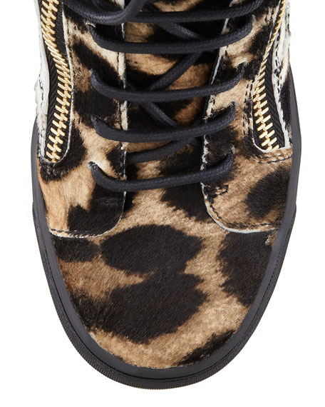 Leopard-Print Calf Hair Wedge Sneaker