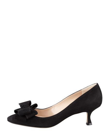 Lisanewbo Suede Low-Heel Bow Pump, Black