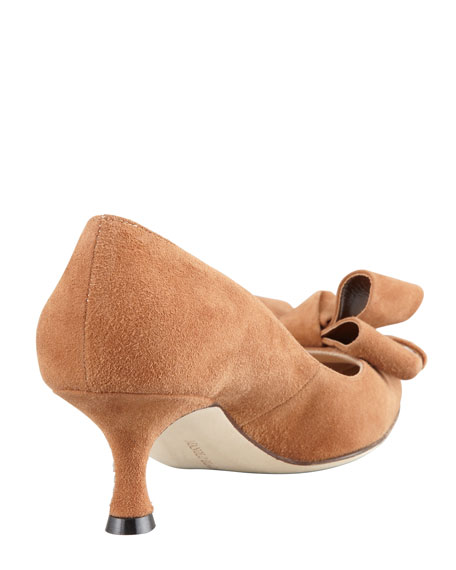 Lisanewbo Suede Low-Heel Bow Pump, Camel