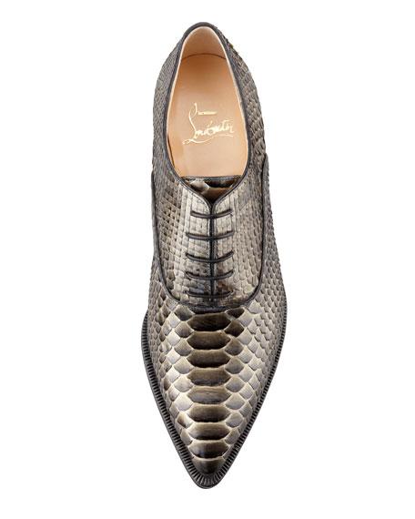 Zazou Python Pointed-Toe Derby Flat, Bronze