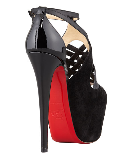 Carlota Strappy Red Sole Platform Pump, Black
