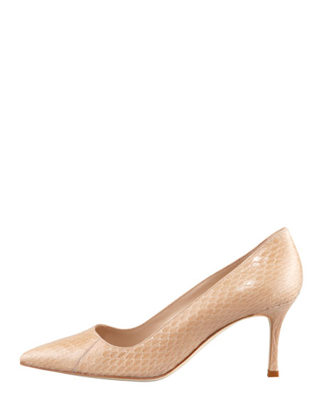 BB 70mm Low-Heel Snake Pump, Nocciola Cream