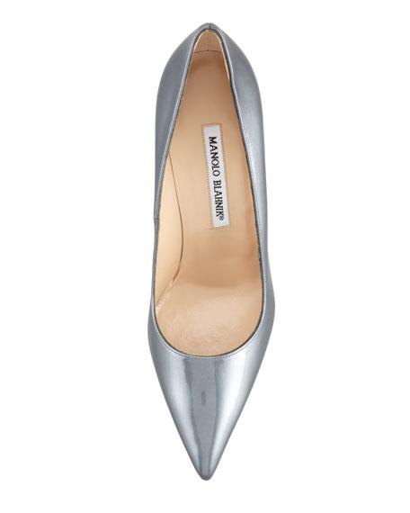 BB Metallic Patent Pointed-Toe Pump, Gray