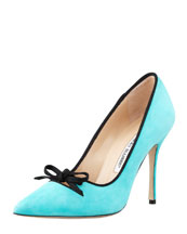 Manolo Blahnik Bori Piped Suede Bow Pump