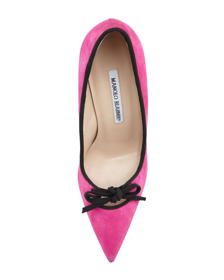 Bori Piped Suede Bow Pump