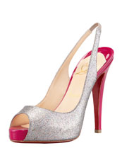 Christian Louboutin No Prive Glittered Slingback Red Sole Pump, Grenadine