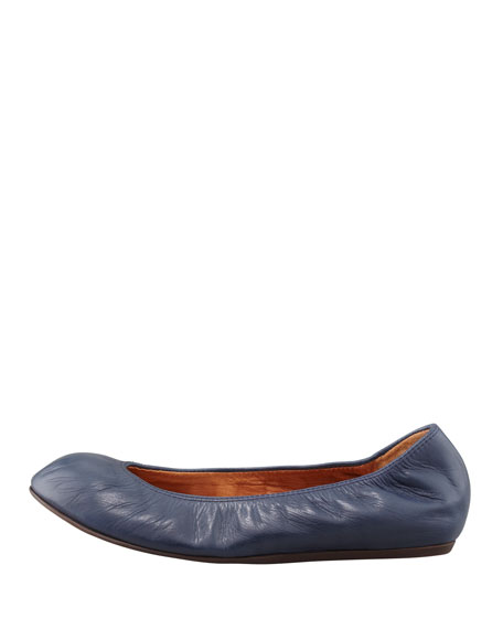 Classic Leather Ballerina Flat, Navy Blue