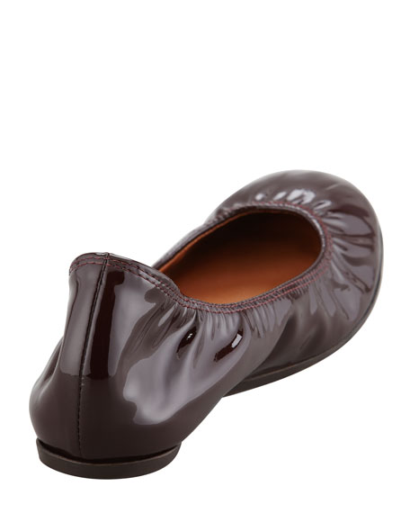 Scrunched Patent Leather Ballerina Flat, Red Wine