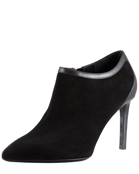 Pointed-Toe Calf-Trim Suede Bootie, Black