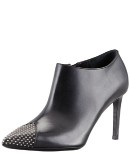 Saint Laurent Studded Point-Toe Ankle Bootie