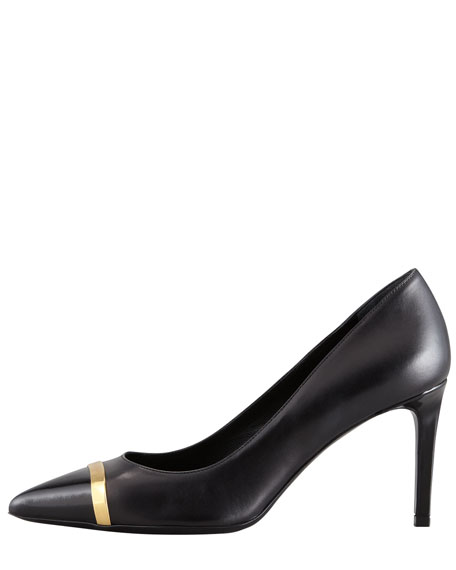 Pointed Metal Cap-Toe Pump, Black