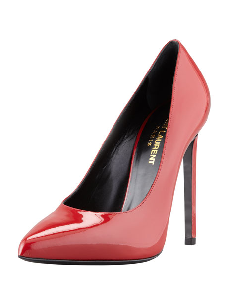 Pointed-Toe Patent Leather Pump, Claret Red