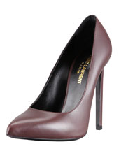 Saint Laurent Pointed-Toe Calfskin Pump, Dark Red