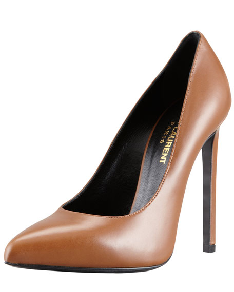 Pointed-Toe Calfskin Pump, Noisette