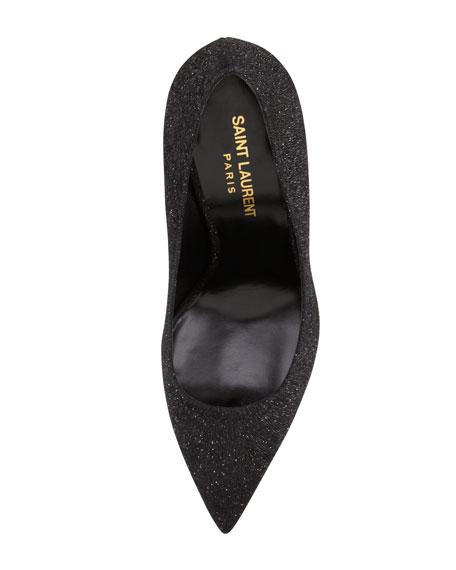 Paris Pointed-Toe Glitter Pump, Black/Silver