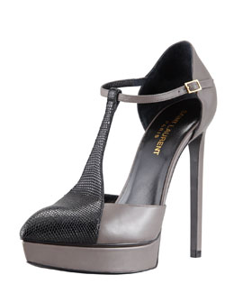Saint Laurent T-Strap Bicolor Platform Pump, Fango