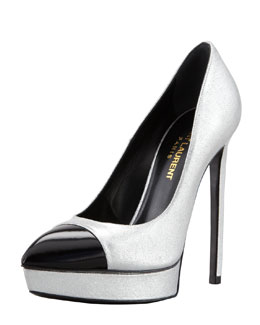 Saint Laurent Cap-Toe Metallic Platform Pump, Silver/Black