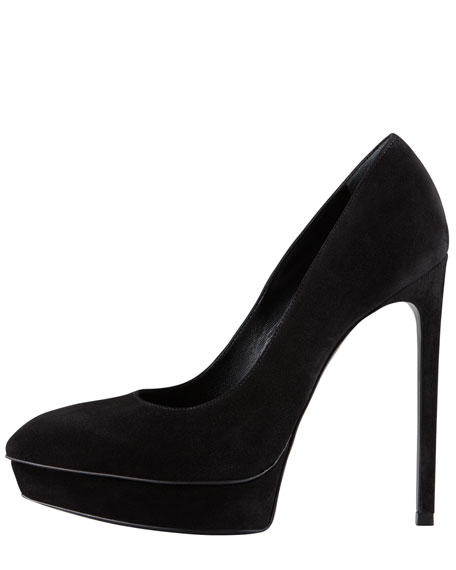 Suede Point-Toe Platform Pump, Noir
