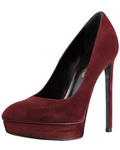 Saint Laurent Suede Pointed-Toe Platform Pump, Bordeaux