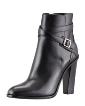 Saint Laurent Jodhpur Wood-Heel Ankle-Wrap Bootie, Black