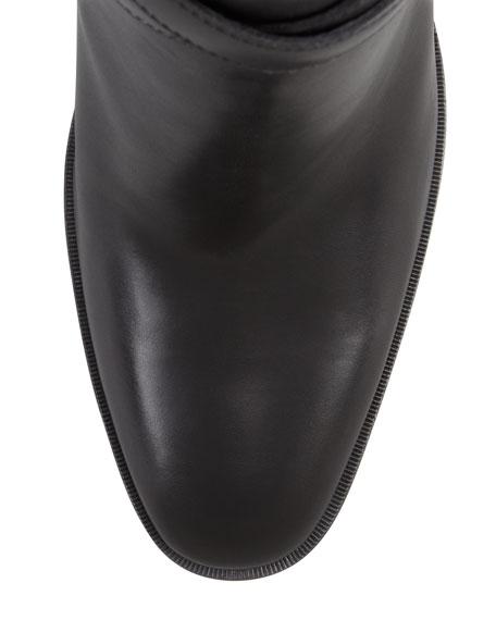 Jodhpur Wood-Heel Ankle-Wrap Bootie, Black