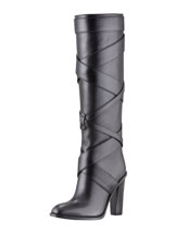 Saint Laurent Wraparound Wood-Heel Tall Boot