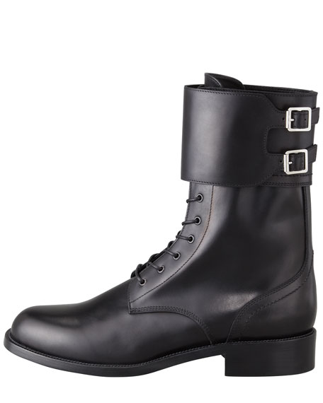 Lace-Up Double-Buckle Combat Boot
