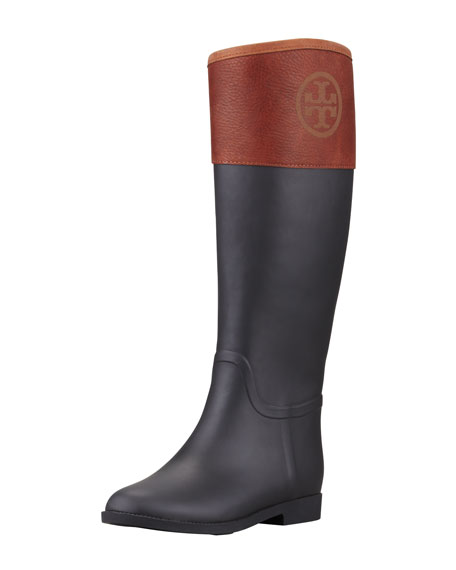Diana Rubber Riding Boot, Black/Almond