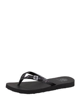 Tory Burch Carey Glitter Flip-Flop, Black