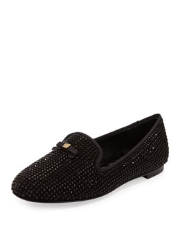 Tory Burch Chandra Sparkle Smoking Slipper, Black