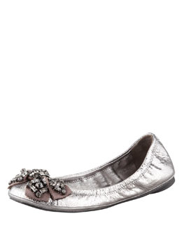 Tory Burch Azalea Jeweled Bow Ballerina Flat Pewter