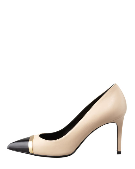 Pointed Cap-Toe Pump, Beige/Black