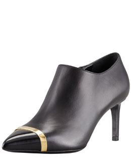 Saint Laurent Pointed Cap-Toe Mid-Heel Bootie