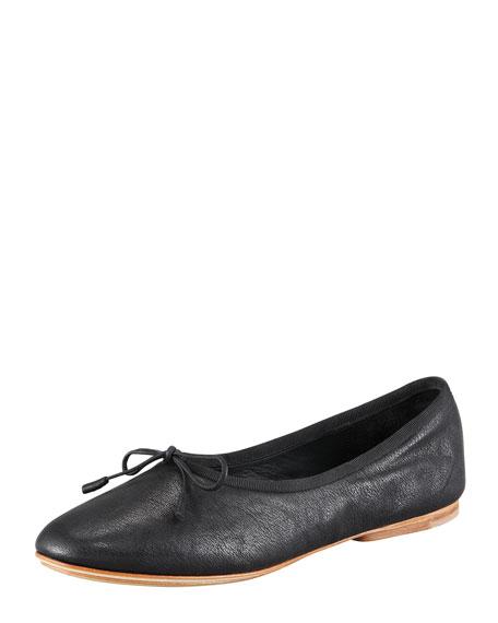 ed64c0f09 Windsor High-Rise Leather Ballet Flat Black