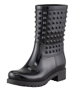 Valentino Rockstud Rubber Rain Boot