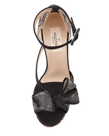 Satin-Lace Bow Platform Sandal, Black/Skin