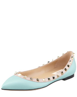 Valentino Leather Rock Stud Ballerina Flat, Sky Blue