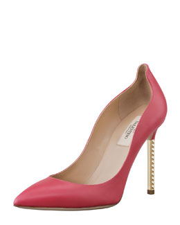 Valentino Stud-Heel Leather Pump