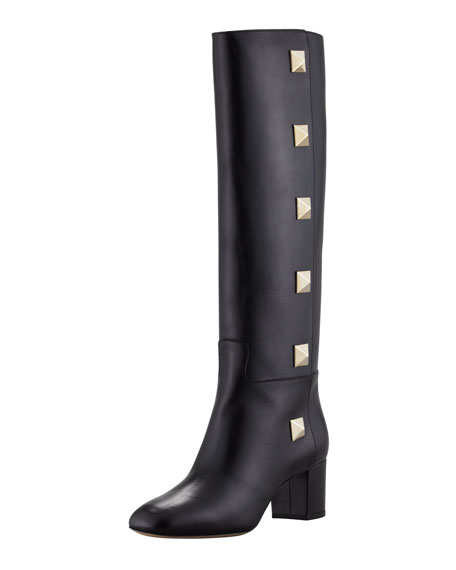 Studded Leather Knee Boot, Nero