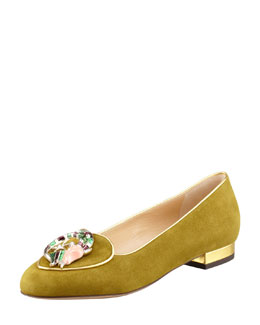 Charlotte Olympia Birthday Capricorn Zodiac Suede Smoking Slipper, Moss