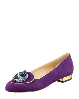 Charlotte Olympia Birthday Pisces Zodiac Suede Smoking Slipper, Purple
