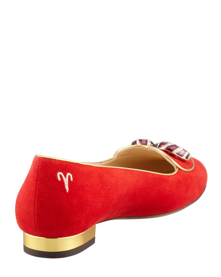 Birthday Aries Zodiac Suede Smoking Slipper, Red